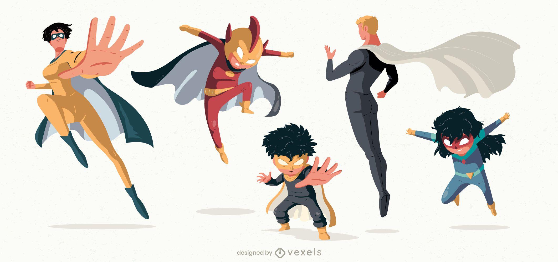 Pack de personajes de poses de superhéroe