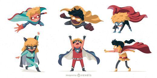 Conjunto de caracteres de niños superhéroes