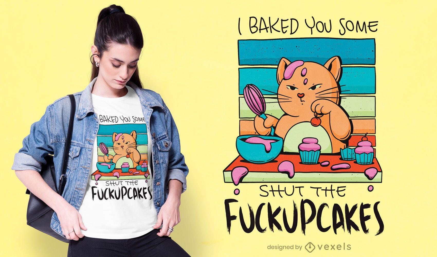 Diseño de camiseta de gato cupcake