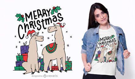 Diseño de camiseta de alpacas navideñas.
