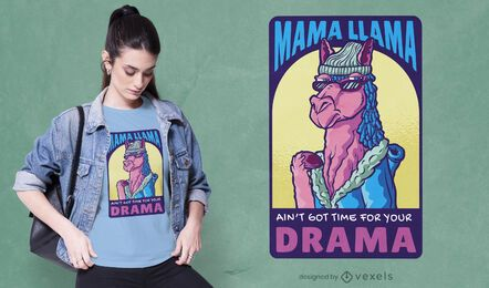 Diseño de camiseta mamá llama drama
