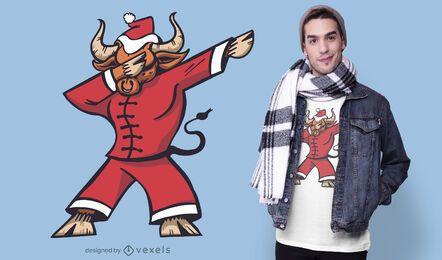 Diseño de camiseta de dabbing de buey navideño