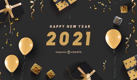 Feliz ano novo 2021 background design