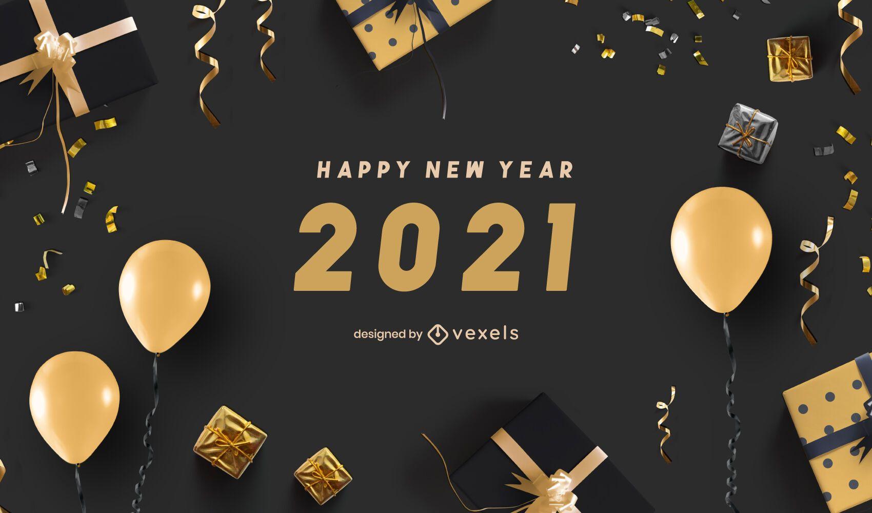 Happy new year 2021 background design