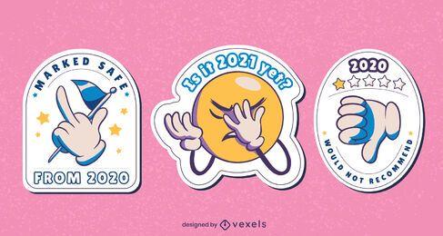 Conjunto de diseño de pegatinas anti 2020