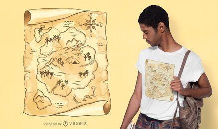 Diseño de camiseta de mapa del tesoro