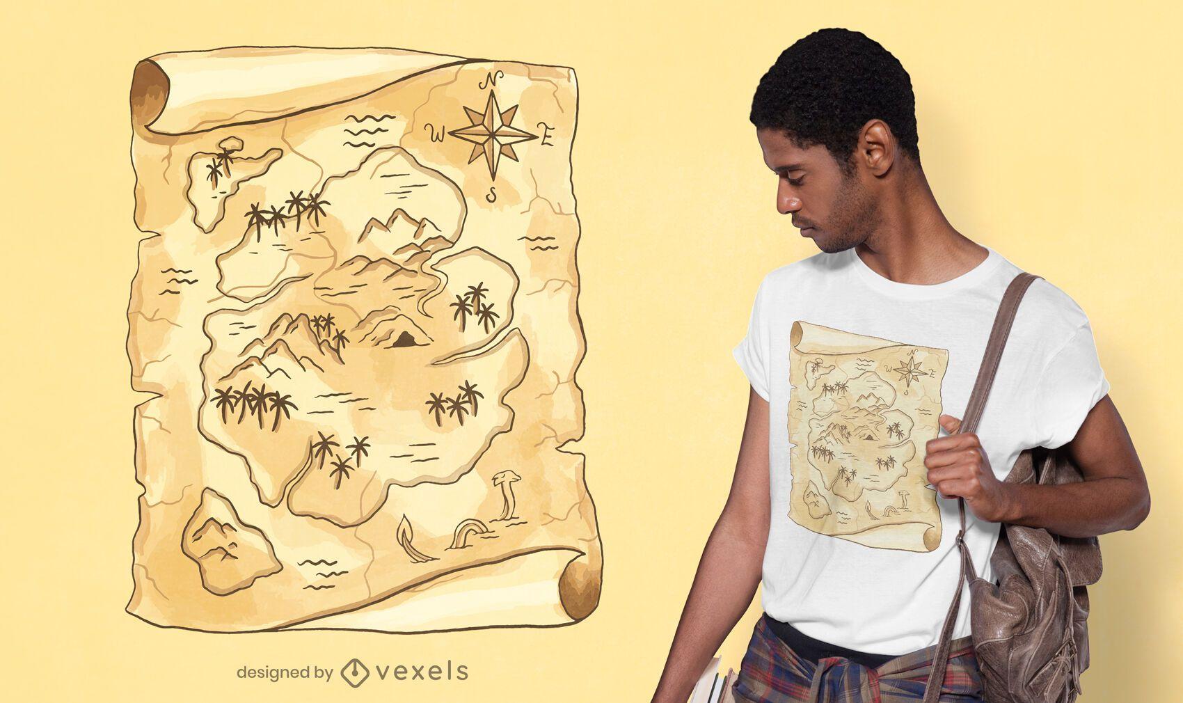 Desenho de t-shirt do mapa do tesouro
