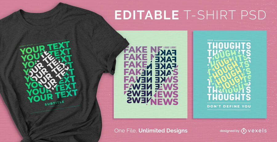 Flipped text scalable t-shirt PSD