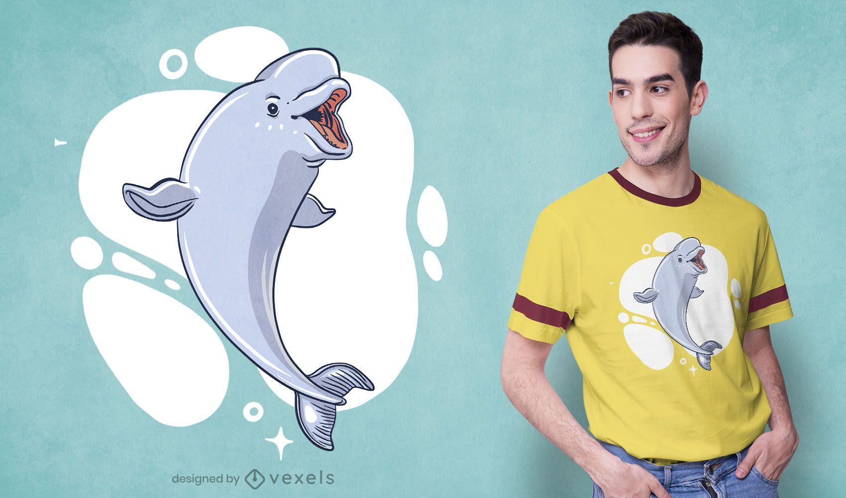 Diseño de camiseta de ballena beluga