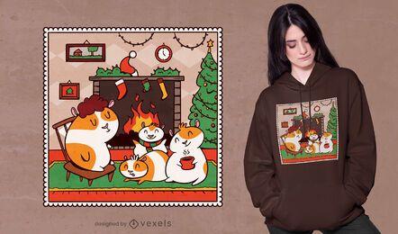 Diseño de camiseta navideña de conejillo de indias