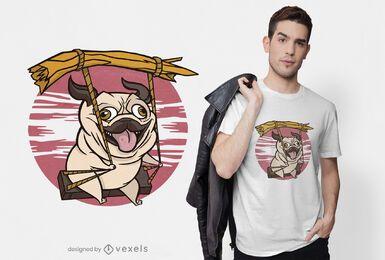 Diseño de camiseta de pug columpio