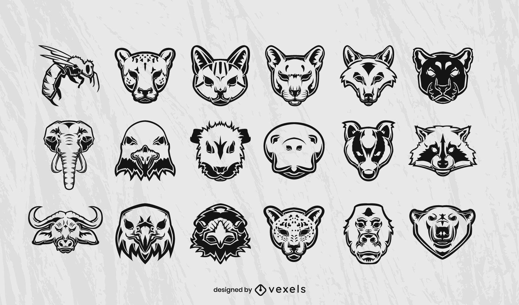 Desenho de coleção de cabeças de animais