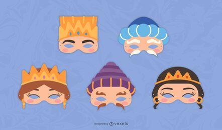Purim characters mask set