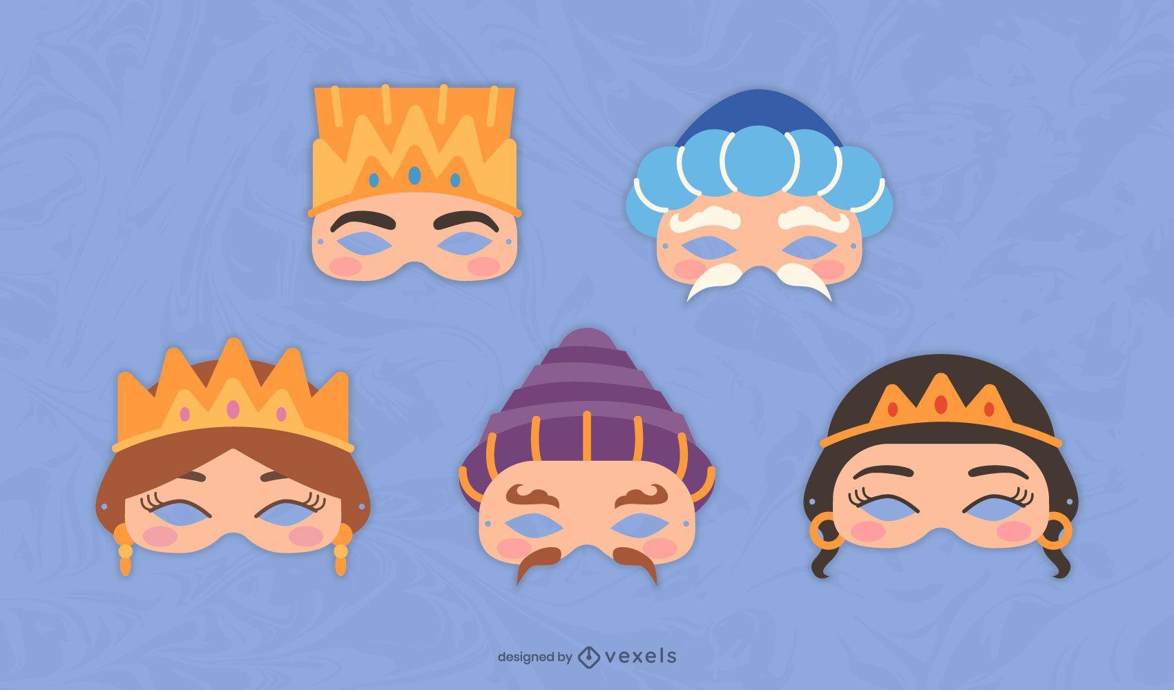 Conjunto de máscaras de personajes de Purim
