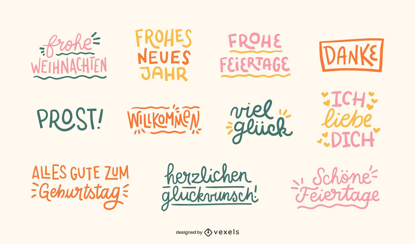 German celebration quotes set