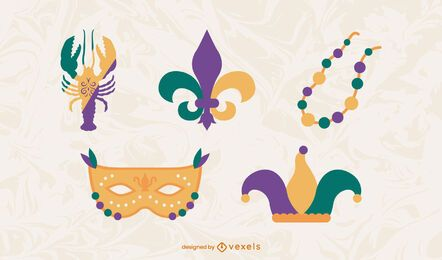Mardi gras flat elements set