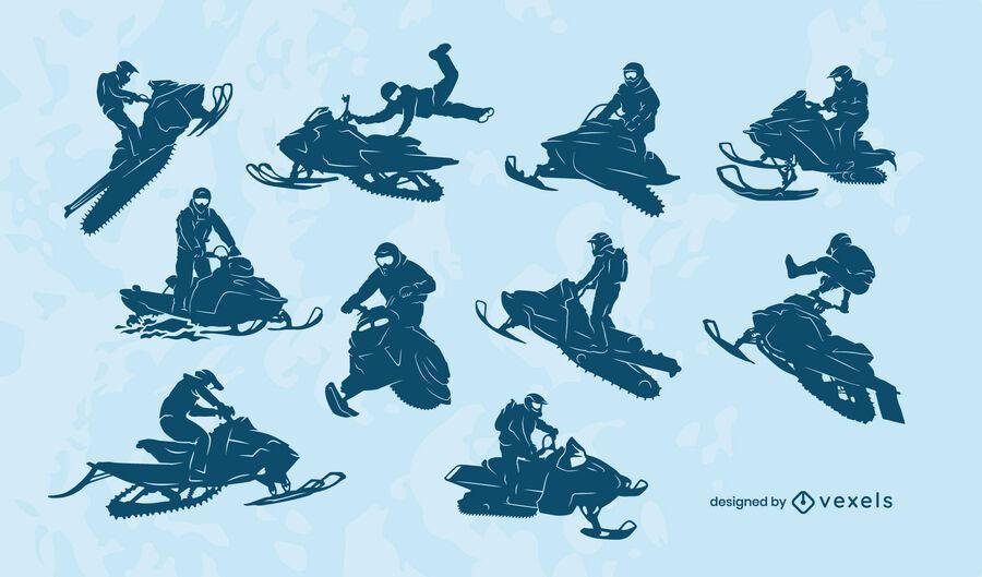 Conjunto de silueta de motos de nieve