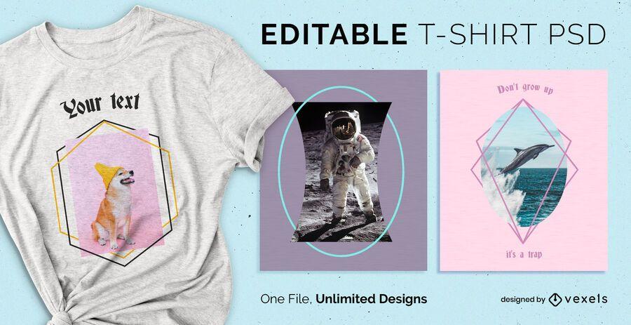T-shirt PSD escalável frames geométricos