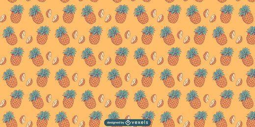 Desenho de padrão de frutas de abacaxi