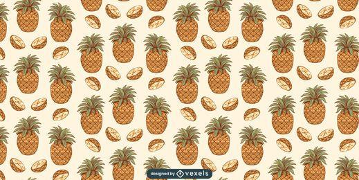 Desenho de padrão de fatias de abacaxi