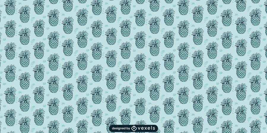 Desenho de padrão monocromático de abacaxi