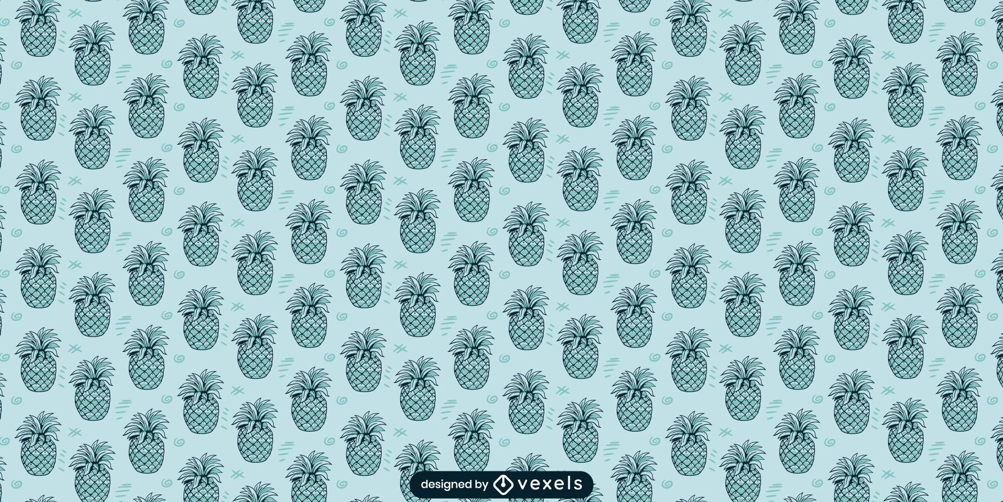 Diseño de patrón monocromo de piña