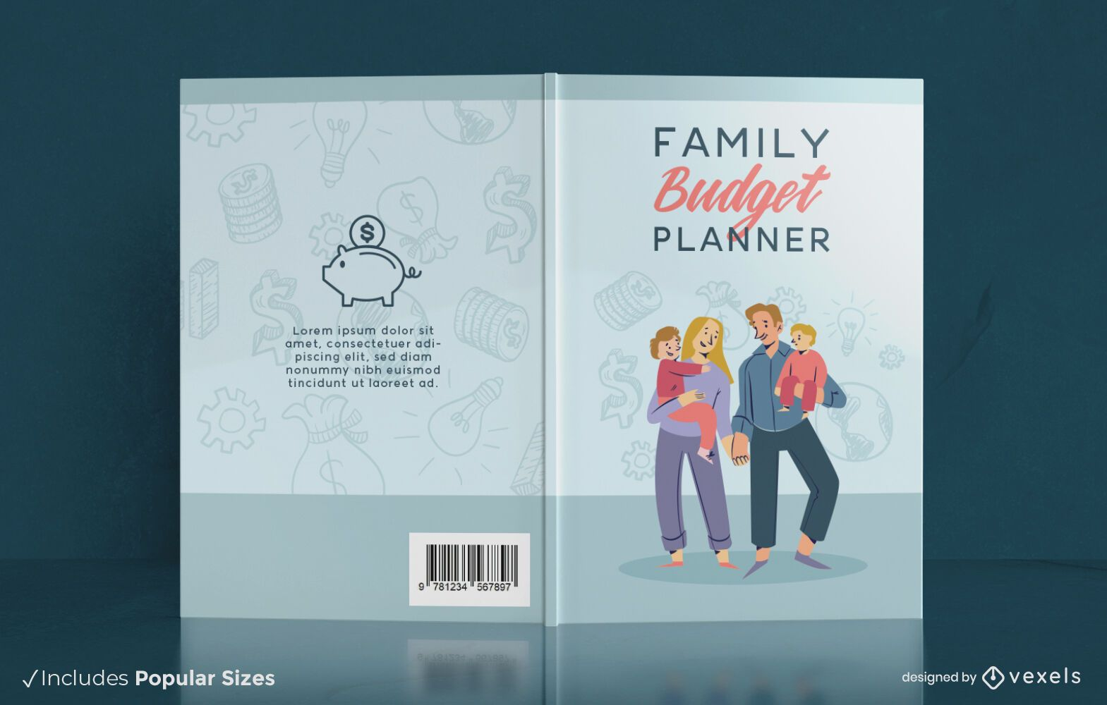 Family budget planner book cover design