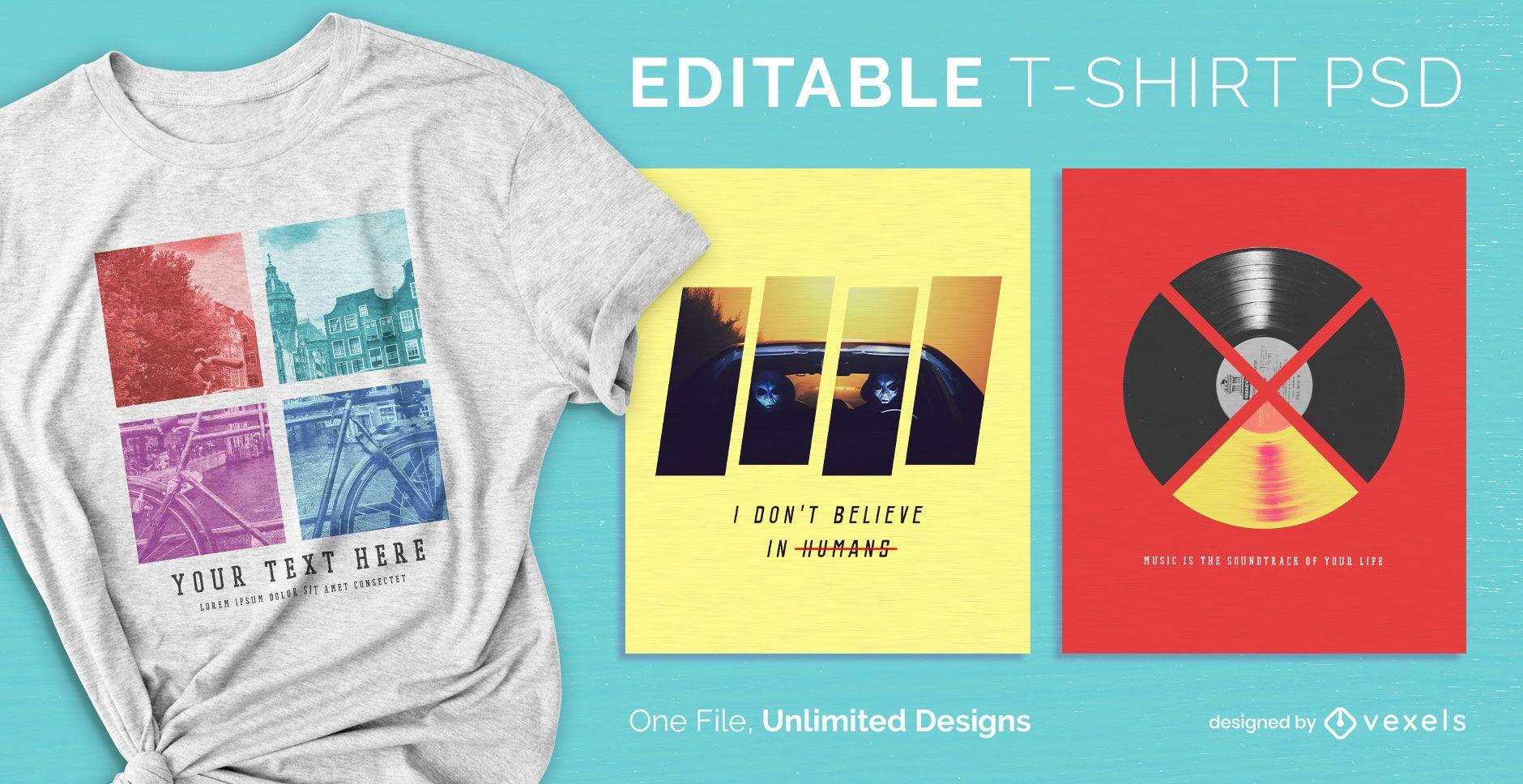 Camiseta escalable dividida psd