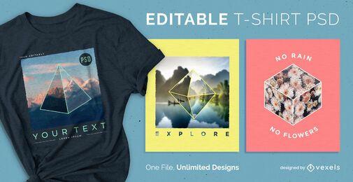3D formt skalierbares T-Shirt psd