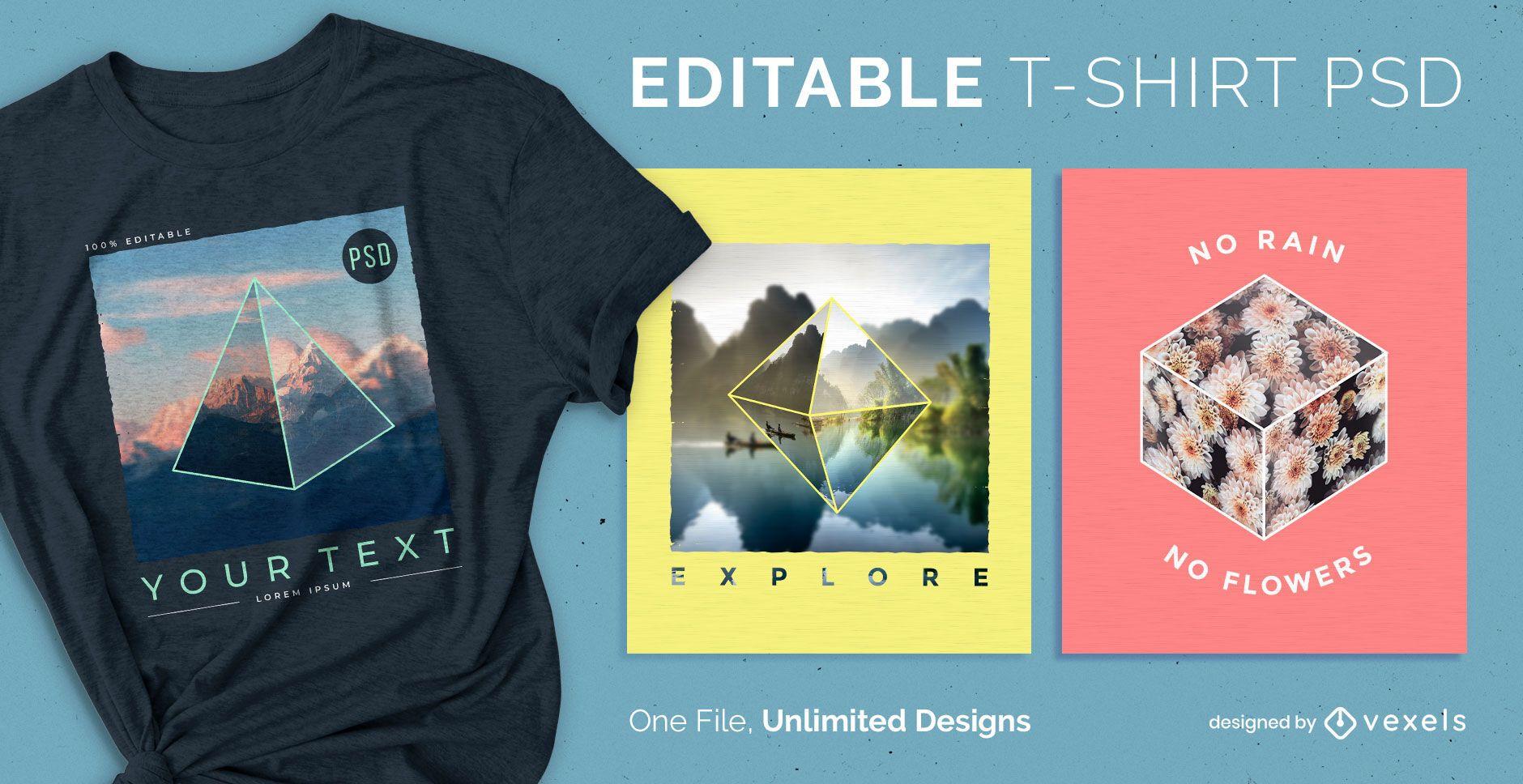 Camiseta escalable 3d formas psd