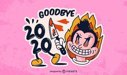 Adiós 2020 diseño de ilustración de pegatina