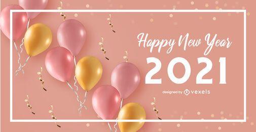 Projeto de fundo de celebração de feliz ano novo 2021