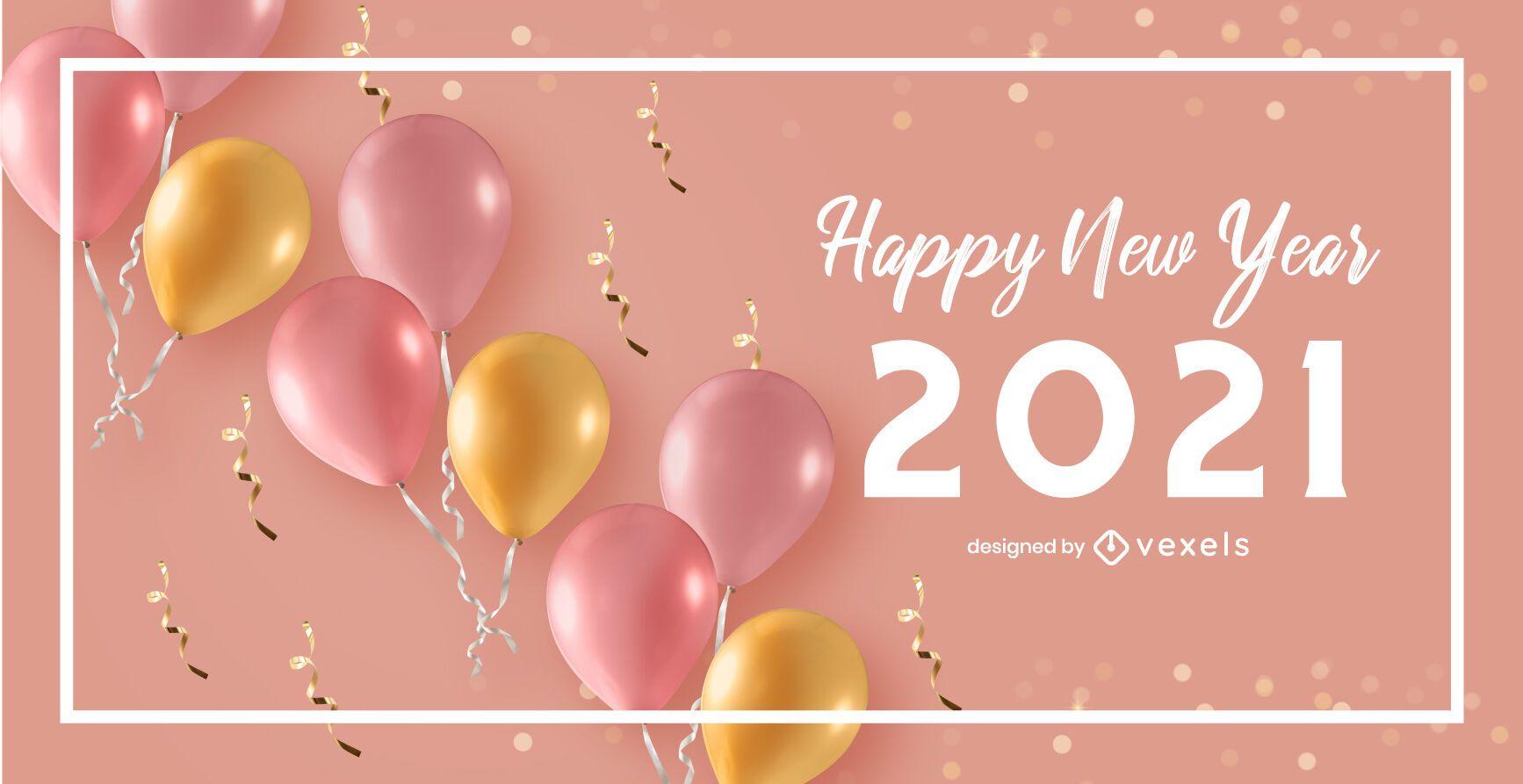 Feliz año nuevo 2021 diseño de fondo de celebración