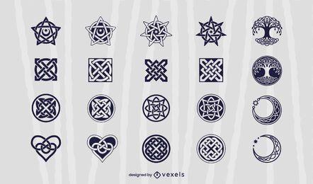 Conjunto de ilustração de elementos celtas