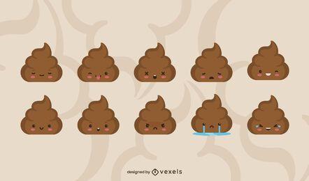 Conjunto plano de emoji de caca
