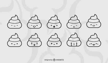 Poop emoji stroke set