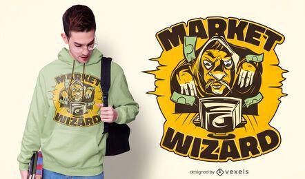 Design de camiseta de mago do mercado