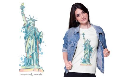 Desenho de t-shirt da estátua da liberdade em aquarela