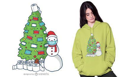 Diseño de camiseta de árbol de navidad en cuarentena
