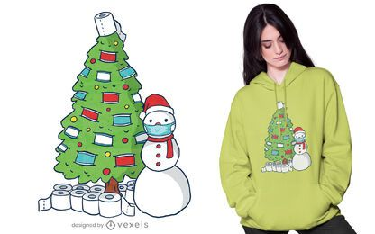 Quarantäne Weihnachtsbaum T-Shirt Design