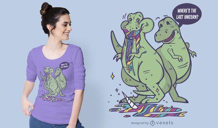 Diseño de camiseta t-rex comiendo unicornio