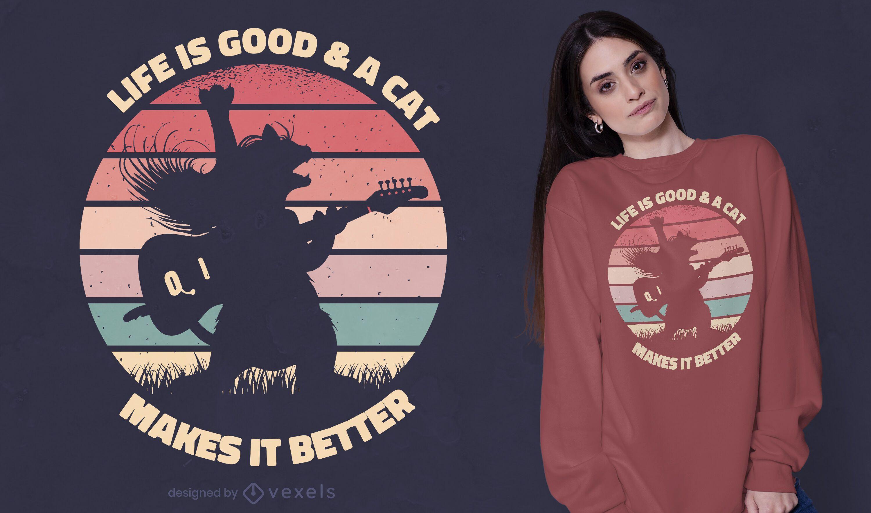 Guitarist cat sunset t-shirt design