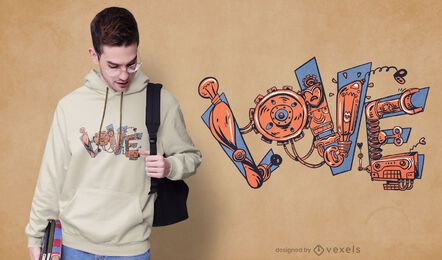Design de camiseta de amor mecânico