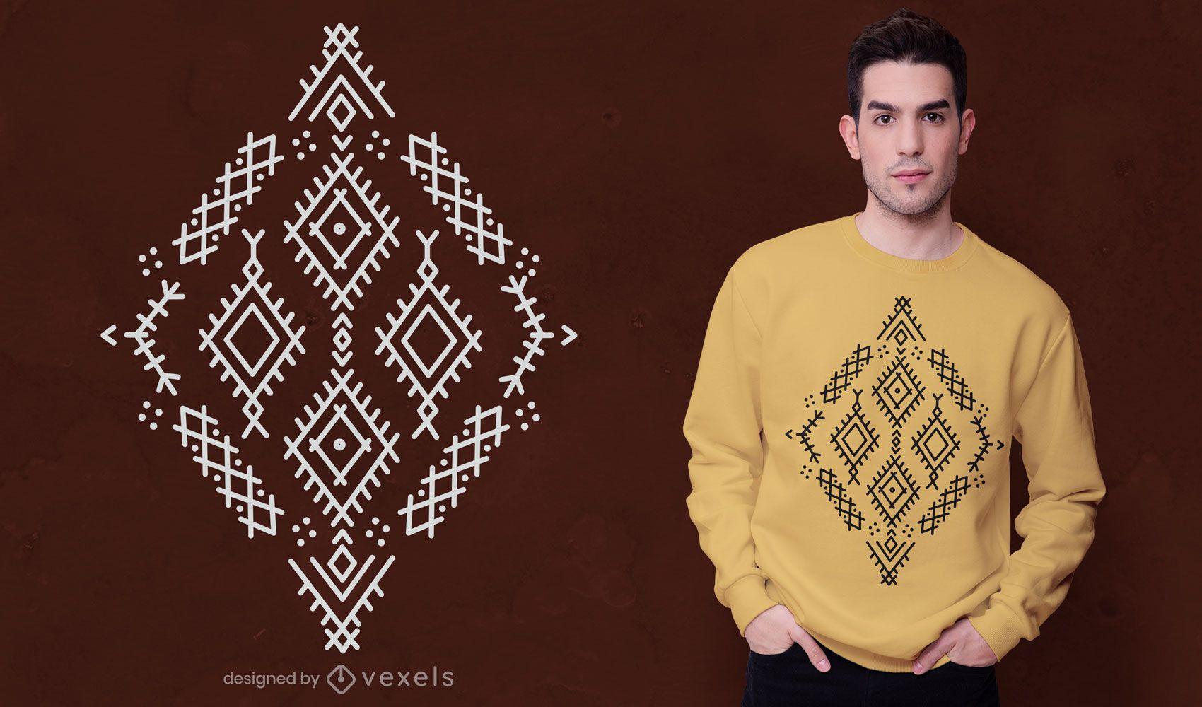Diseño de camiseta de símbolos bereberes.
