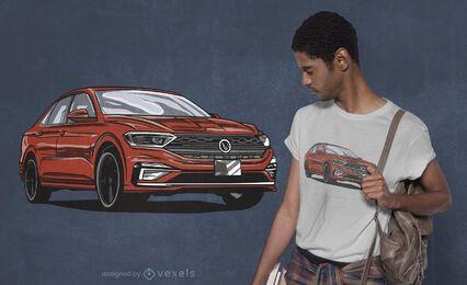 Diseño de camiseta de coche rojo