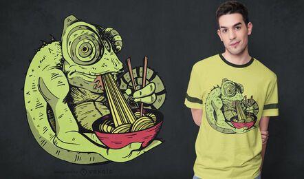 Diseño de camiseta camaleón comiendo ramen