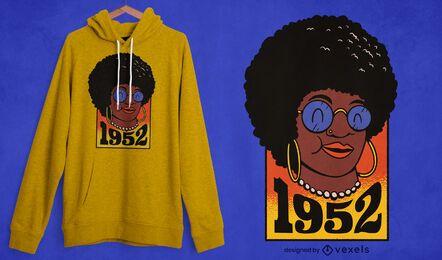 Diseño de camiseta de cumpleaños de mujer negra.