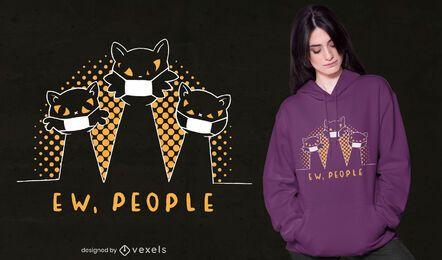 Diseño de camiseta de gatos ew people