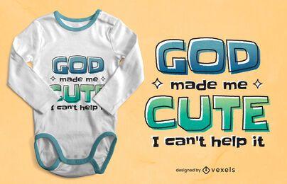Deus me fez um design fofo de camiseta