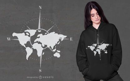 Diseño de camiseta de brújula de mapa mundial